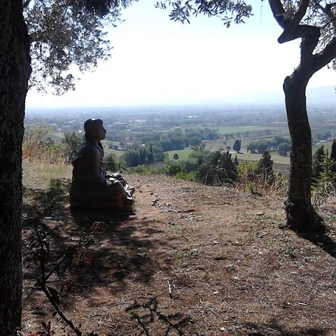 Bronzeskulptur des heiligen Franz von Assisi auf einem Hügel unter Bäumen
